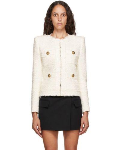 Белая длинная куртка твидовая с манжетами с подкладкой Balmain