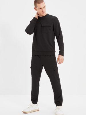 Czarny dres bawełniany Trendyol
