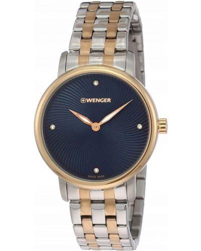 Niebieski klasyczny złoty zegarek Wenger