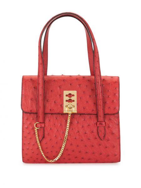 Золотистая красная сумка на цепочке на молнии с карманами Céline Pre-owned