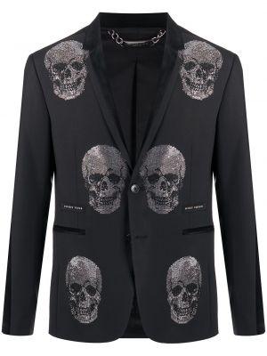 Черный классический пиджак с заплатками на пуговицах с лацканами Philipp Plein