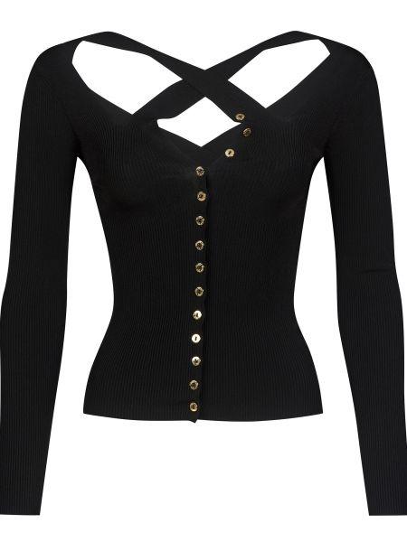 Черный джемпер на пуговицах из вискозы Versace Jeans Couture