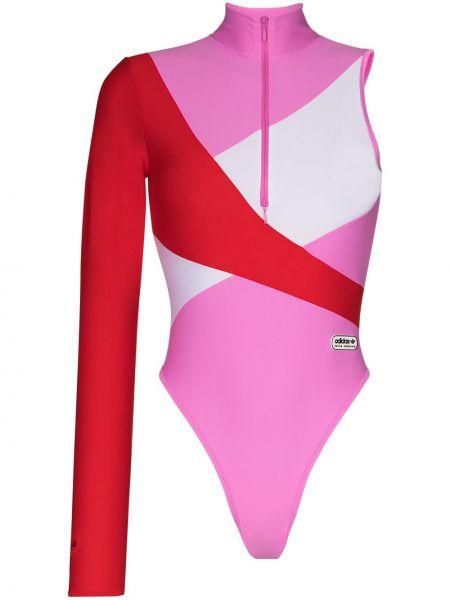 Пляжный розовый купальник с шортами на молнии с воротником Adidas