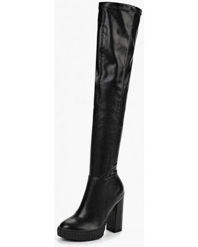 Черные ботфорты кожаные Guess