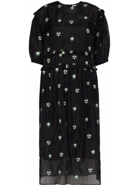 С рукавами черное платье миди с подкладкой Shrimps