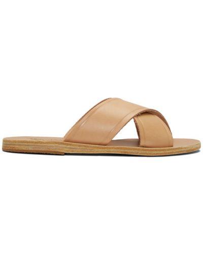 Z paskiem skórzany sandały grecki na pięcie na paskach Ancient Greek Sandals