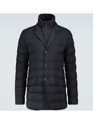 Текстильная классическая синяя дутая куртка с лацканами Herno
