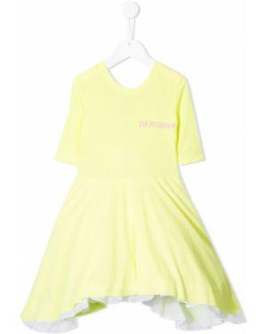 Желтое приталенное платье с рукавами с вырезом круглое Natasha Zinko Kids