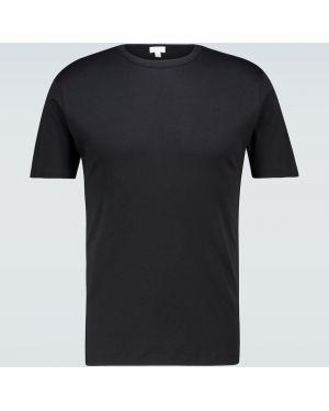 Ватная хлопковая классическая черная классическая рубашка Sunspel
