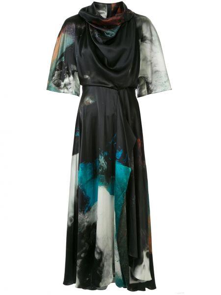 Satynowa czarna sukienka mini rozkloszowana Roksanda
