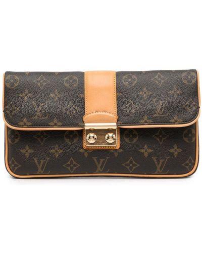 Коричневый кожаный клатч Louis Vuitton