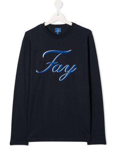 Хлопковая синяя прямая футболка с круглым вырезом Fay Kids