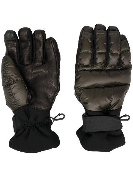 Zielone rękawiczki z haftem Moncler Grenoble