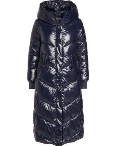 Нейлоновое синее длинное пальто с капюшоном Soia & Kyo