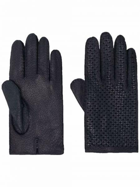 Rękawiczki skorzane - niebieskie Kiton