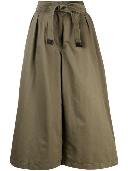 Хлопковые зеленые укороченные брюки с карманами Loewe