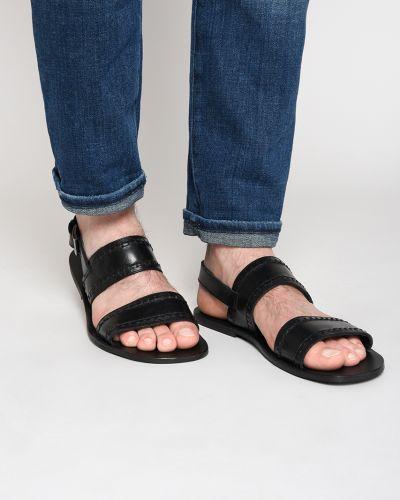 Сандалии кожаные черные Trussardi Jeans