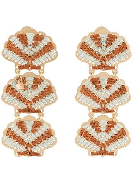 Pomarańczowe kolczyki sztyfty z haftem Mercedes Salazar