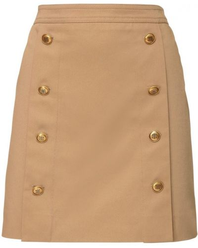 Beżowy brezentowy z wysokim stanem spódnica mini prążkowany Givenchy