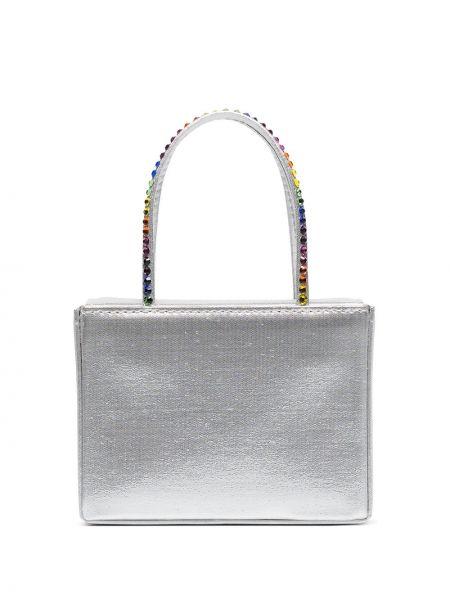 Серебряная кожаная маленькая сумка Amina Muaddi