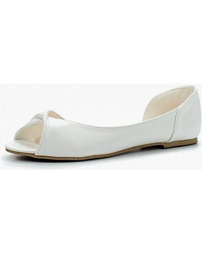 Белые кожаные балетки с открытым носком Stephan