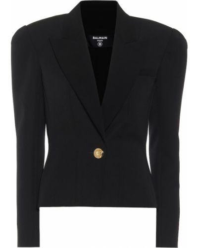 Шерстяной черный пиджак Balmain
