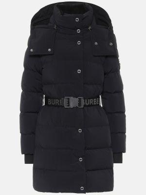Стеганое пуховое черное пальто Burberry