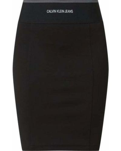 Czarna spódnica jeansowa z wiskozy Calvin Klein Jeans