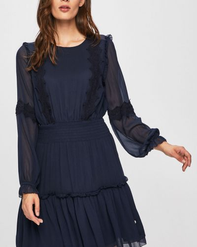 Темно-синее расклешенное джинсовое платье с вышивкой на пуговицах Pepe Jeans