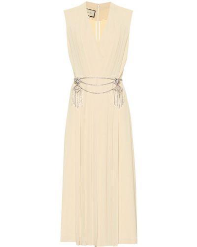 Платье миди плиссированное со складками Gucci