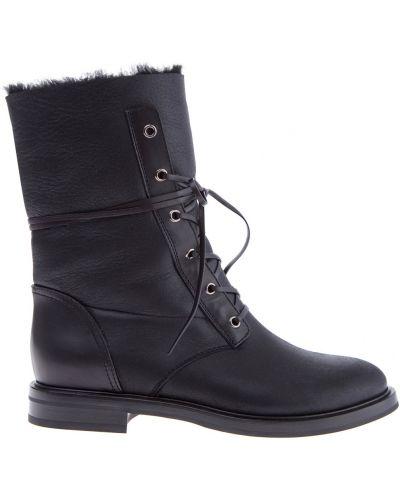 Ботинки на шнуровке кожаные на каблуке Casadei