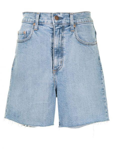 Хлопковые синие джинсовые шорты на молнии Nobody Denim