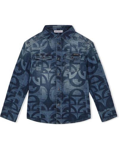 Klasyczna niebieska koszula jeansowa bawełniana Dolce & Gabbana Kids