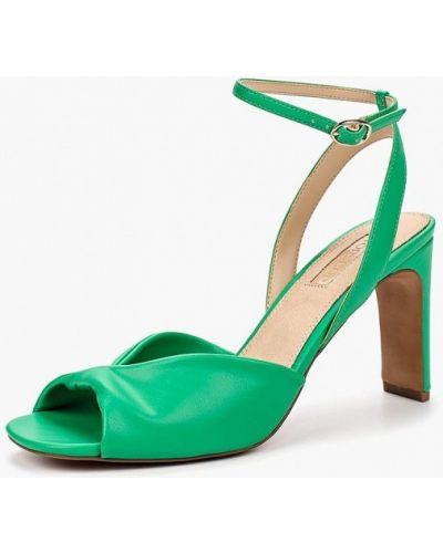 Босоножки на каблуке зеленый кожаные Topshop