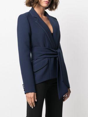 Однобортный синий удлиненный пиджак с поясом Hebe Studio