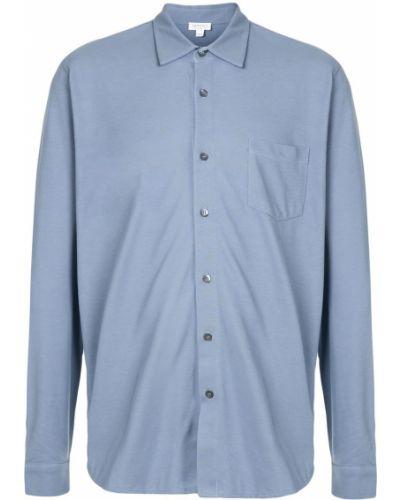 Синяя прямая рубашка с воротником на пуговицах Sunspel