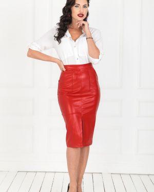 Кожаная юбка стрейч с карманами Taiga