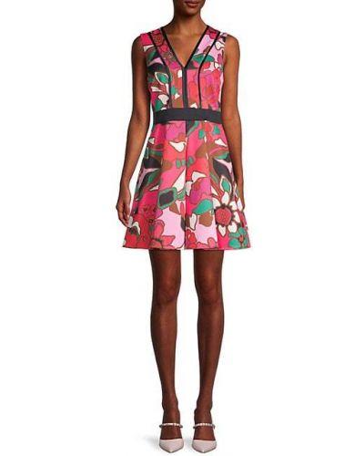 Różowa sukienka w kształcie litery A w kwiaty bez rękawów Ted Baker