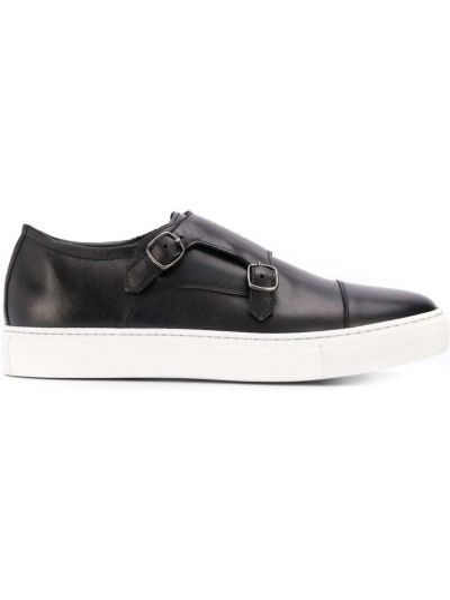 Czarne sneakersy skorzane klamry Scarosso
