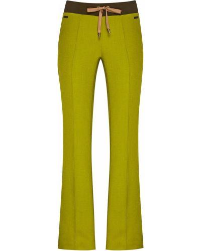 Зеленые прямые брюки с карманами свободного кроя с завязками Laroom