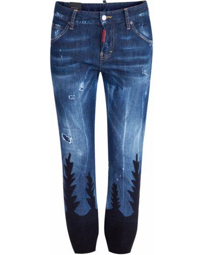 Укороченные джинсы с эффектом потертости с принтом Dsquared2