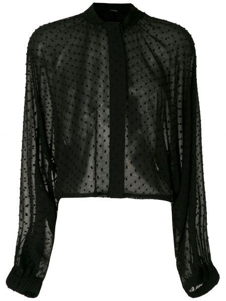 С рукавами черная рубашка с воротником-стойка À La Garçonne