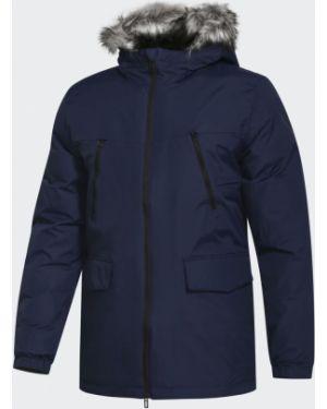 Синяя зимняя куртка с декоративной отделкой из искусственного меха с капюшоном Adidas