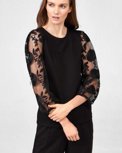 Z rękawami czarny t-shirt z wiskozy Orsay