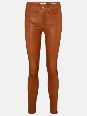 Коричневые зауженные кожаные брюки Frame