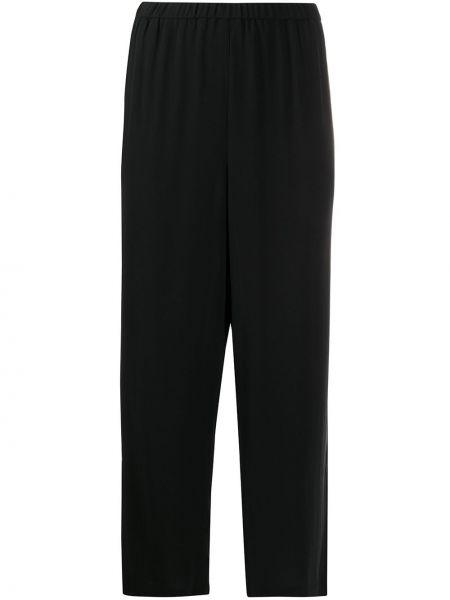 Черные с завышенной талией кожаные укороченные брюки Eileen Fisher