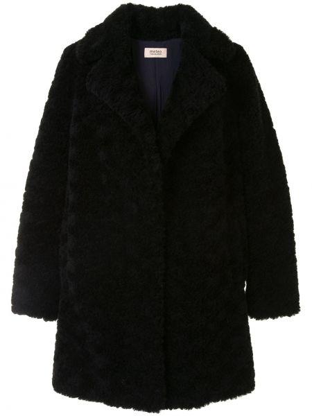 Шерстяное черное длинное пальто свободного кроя Yves Salomon Meteo
