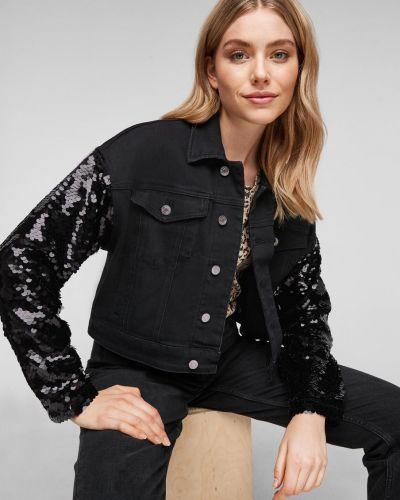 Черная джинсовая куртка оверсайз с воротником S.oliver