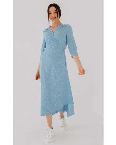 Платье миди в горошек со шлейфом с декольте Bessa