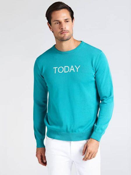 Niebieski sweter bawełniany z printem Guess